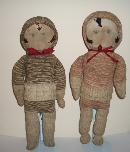 Folk Art Sock Dolls from the Depression Collection Jim Linderman HERE on Dull Tool Dim Bulb the Art Blog