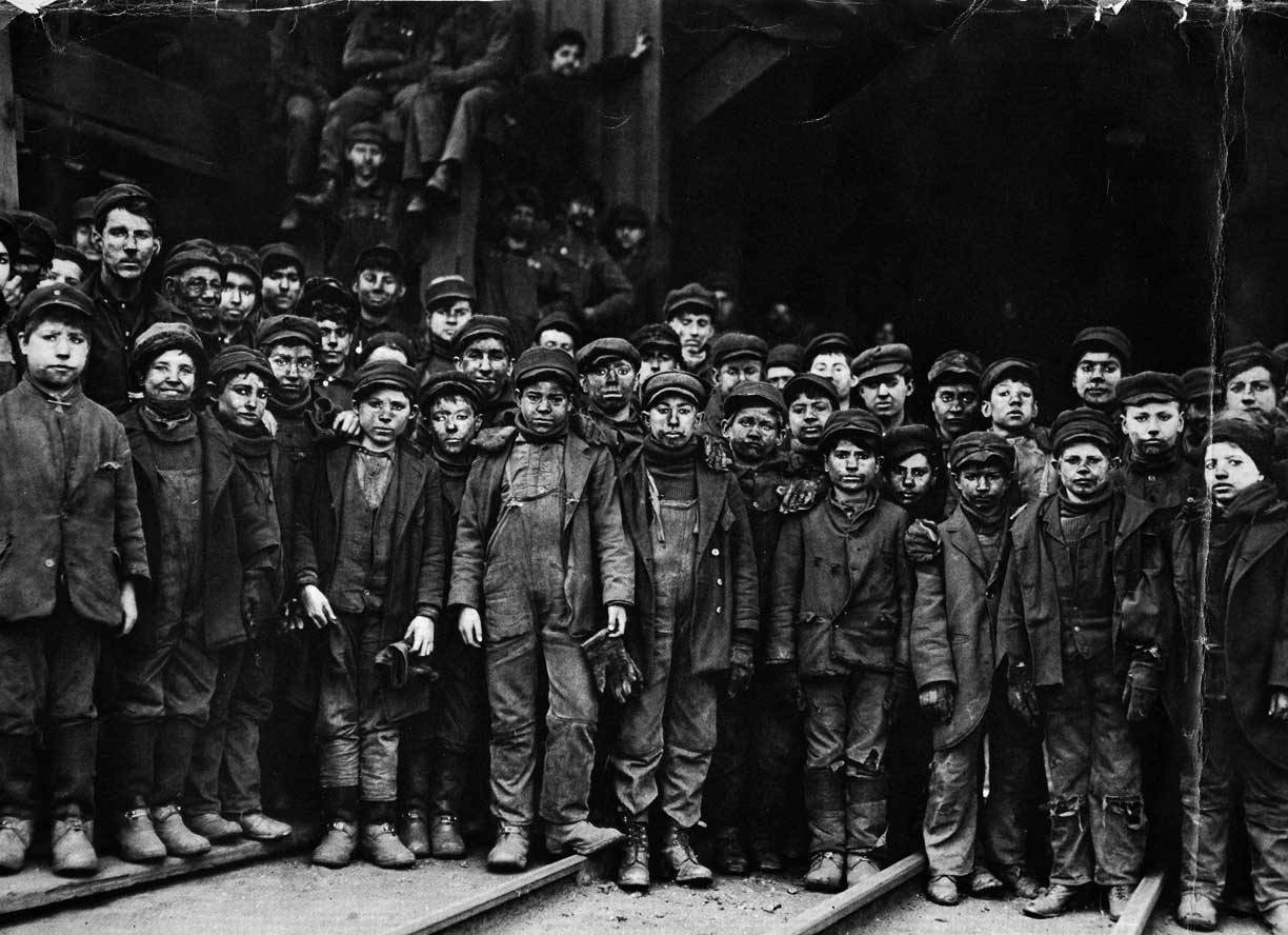 Breaker boys at a coal mine in South Pittston, PA.