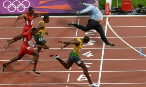Someone Finally Beat Usain Bolt in Track Wide-angle photo finish.