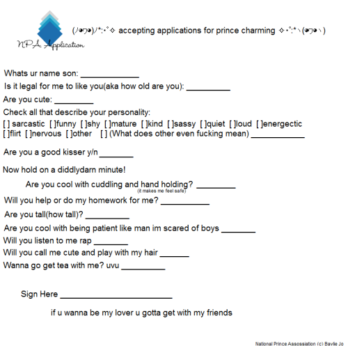 rainbowsdinos-rainbowdrinker:  john-ebubblz:  hexiium:  PRINCE APPLICATION FILL IT OUT AND SUBMIT IT YEAH  come on guys -throws you all at this cutie here-  PLEASE PLEASE PLEASE SUBMIT THIS TO ME I WILL PAY YOU 12 POTATO