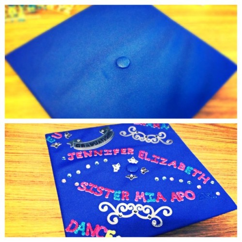 jennypher18:  Cap Before and After #CapDecorating #Graduation #Glitter #Hofstra #ClassOf2013 #picstitch (at Vander Poel Hall)  Congratulations!
