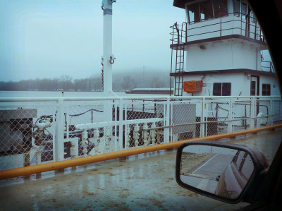 A first today - took the ferry across the Illinois River to get to a parish!