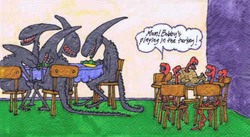 kmkirby:  Far Side Alien fun.  New napkin art.