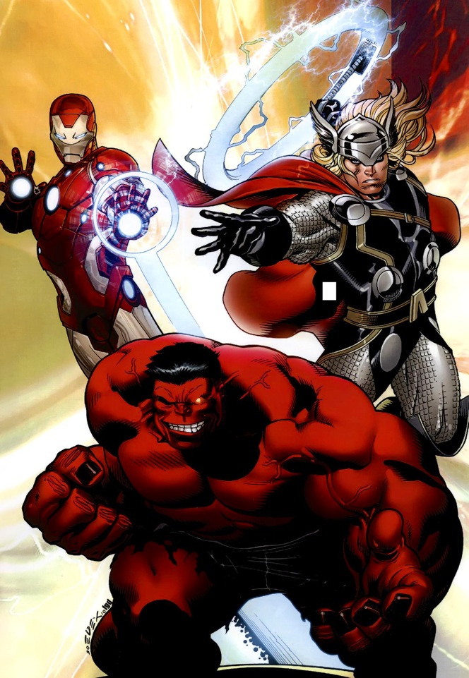 IRON MAN, THOR, AND RED HULK by Ed McGuinness