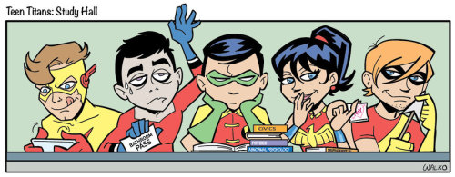 amazonian-wonder-girl:  Teen Titans Study Hall by *BillWalko //Pft! Oh Robin, there's no studying in study hall silly!  Poor Aqualad…also Speedy giving the Nala eyes…you know what I mean