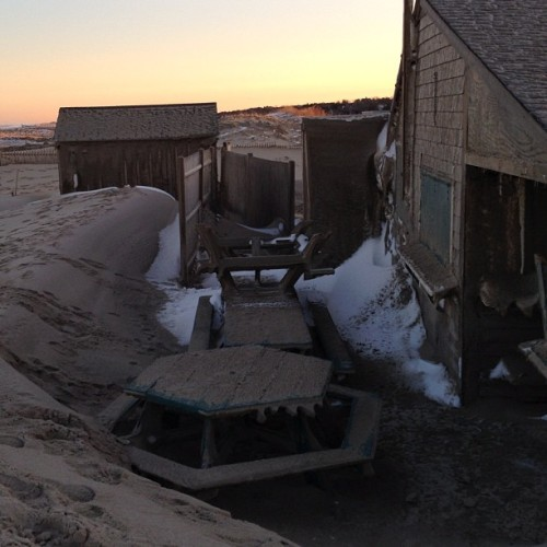 This is Liam's on Nauset Beach on Cape Cod. The latest storm pushed that mountain of sand right to its doorstep.  #beach #capecod #liam's #storm (at Liam's Clam Shack at Nauset Beach)