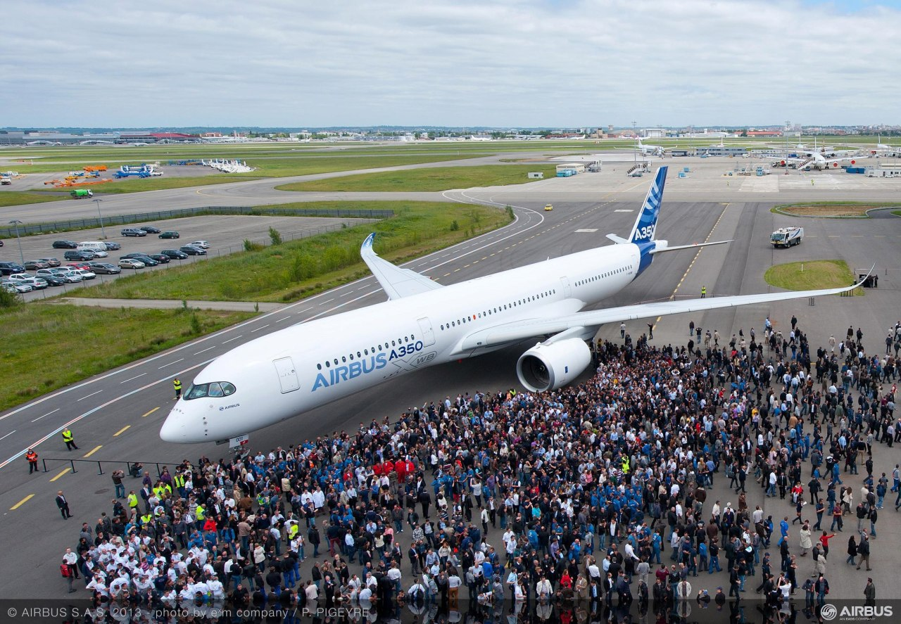 The first painted Airbus A350 XWB—their answer to the Boeing 787. (Photo via Airbus)
