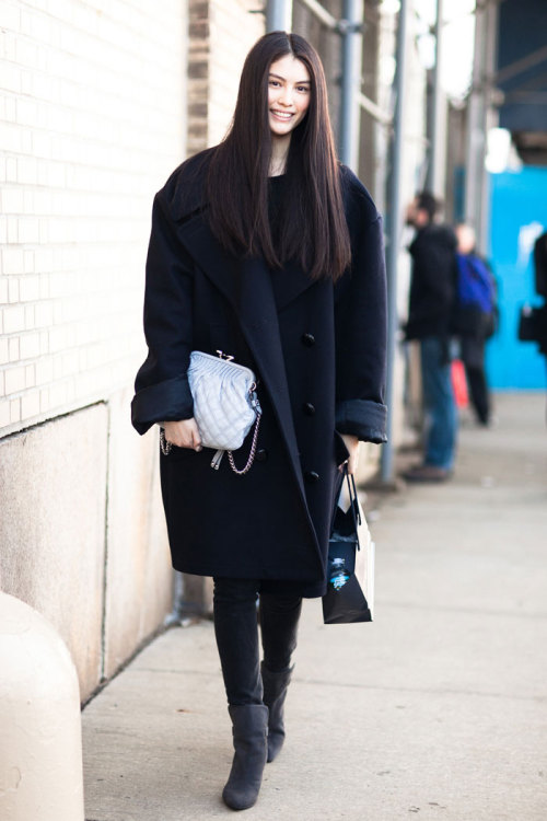 journaldelamode:  Sui He (Model) in New York during New York Fashion Week F/W 2013 shot by Melodie Jeng.