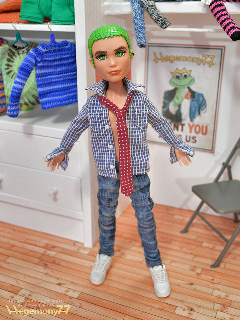 Monster High Boy doll in dress shirt with real working buttonholes tie and washed jeans pants on Flickr.Via Flickr: Doll clothes and photo made by Hegemony77