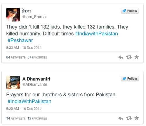 micdotcom:India shows the world what compassion looks like with #IndiaWithPakistanThe safety of a nation's children trumps all.No matter what problems the two countries have, Indians are putting aside their differences with Pakistanis today in a show of solidarity following an atrocious attack on a school in Peshawar. Taking a sign from #IllRideWithYou, some Indians are using the tag #IndiaWithPakistan on Twitter, proving that love and peace shouldn't be contained within borders.