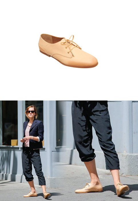 Emma wore a pair of Chloé Burnished Oxfords while out in London.Chloé Burnished Oxfords - $625.00Wore with: Ray-Ban Original Wayfarer 2140 Sunglasses & CM4 4-GREEN Q Card Case Wallet for Apple iPhone 4/4S