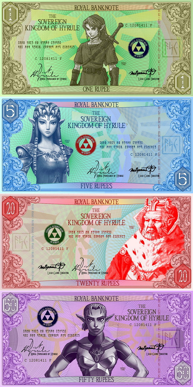 xenomorphicpredation:  albotas:  Zelda Rupees Re-imagined as Paper Banknotes Here's a clever series of paper banknotes that were created to represent Hyrulian currency from the Legend of Zelda series. The rupee bills were imagined by Deviant Artist g33k1nd159153 (really dude?) and show each value in writing, as well as color, true to to the series. Check it: More Zelda on AlbotasBuy it: The Legend of Zelda: Hyrule Historia  I'd invest in this currency