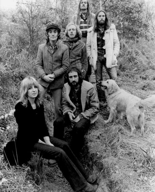 tangointhemoon:  Fleetwood Mac, 1973. Christine McVie, Bob Weston, John McVie, Bob Welch, Mick Fleetwood, Dave Walker, and a little Dog.