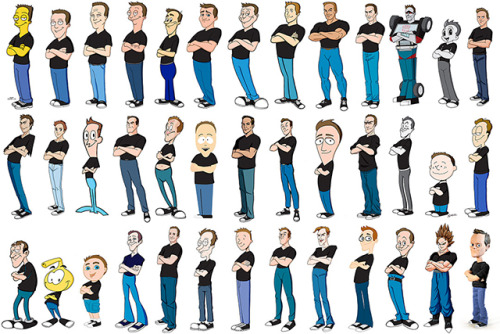laughingsquid:  Artist Kevin McShane Draws Himself in 100 Different Cartoon Styles