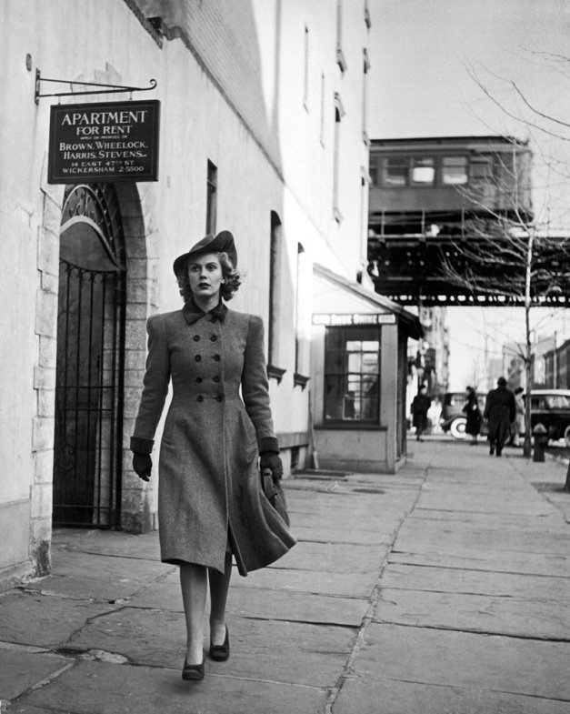 Model Carol Lorell walks down 3rd Avenue in the East 60s. New York, 1940. By Alfred Eisenstaedt