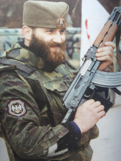 diannefeinsteinvevo:  Serb mercenary/volunteer poses with his M70 in Chechnya.