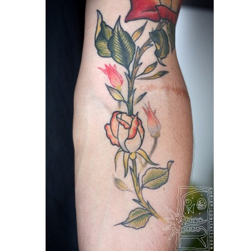 Got some healed photos of Brads Birth to Death roses today too. #tattoo #rose #chrisrigoni