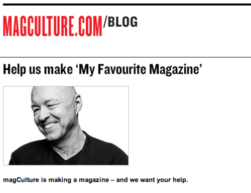 "From The Friends of Bob Newman: Check out Magculture's project: ""My Favorite Magazine"", with all of the profits going to the ""Friends of Bob Newman"" fund: http://magculture.com/blog/?p=17392"