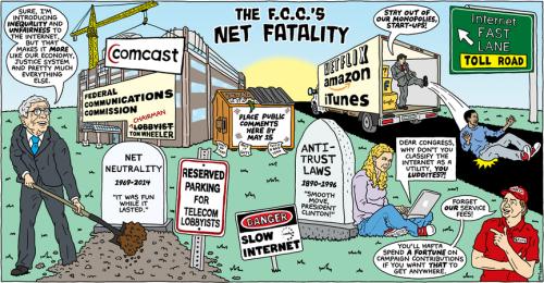 Daily Kos net neutrality FCC Tom Wheeler telecom ISPs internet access internet speed politics cartoon