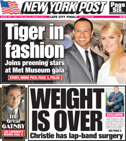New York Post front page for Tuesday, May 7 2013