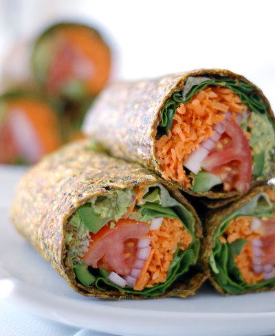 vegfest-and-a-run:  raw gluten-free guacamole wrap from the global girl