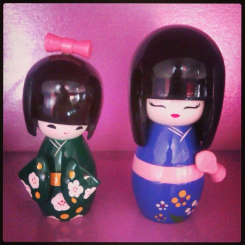 #kokeshi #doll #japanesedoll #green #purple