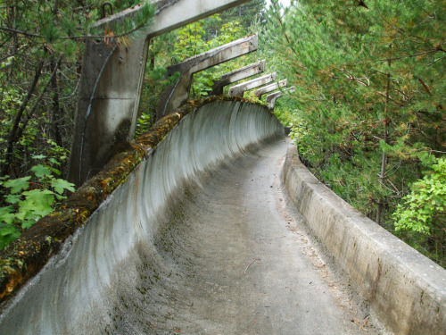 streetinvader:  1984 Winter Olympics bobsleigh track in Sarajevo  Lonely and eerie