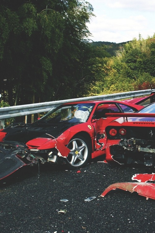 rellyrich:  heavensghetto:  drugera:  Crashed Rarri's.   this hurts  My heart is broken.