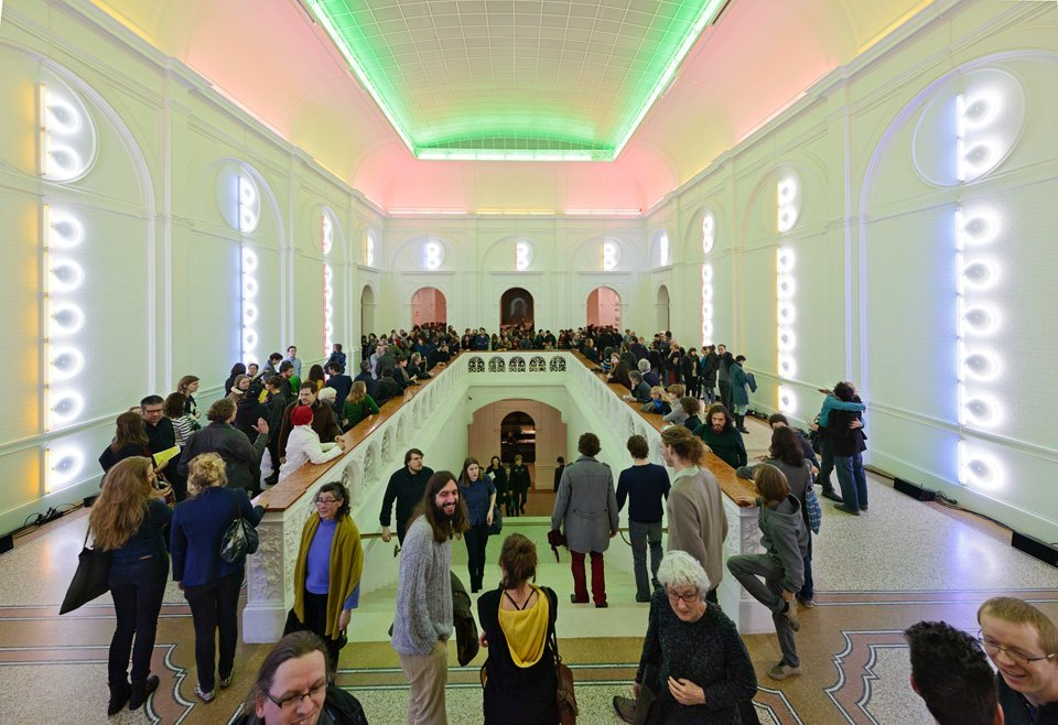 2/21/13 At the opening of the freq_out 9 installation at the Stedelijk Museum in Amsterdam. Twelve frequencies play back over three hours. The room has a light installation by Dan Flavin. Frequency compositions created by BJNilsen, JG Thirlwell, Jacob Kirkegaard, Jana Winderen, Maia Urstad, Kent Tankred , Finnbogi Pétursson, PerMagnus Lindborg, Christine Ödlund, Franz Pomassl, Mike Harding, Tommi Grönlund and curated by Carl Michael von Hausswolff for the Sonic Acts Festival.