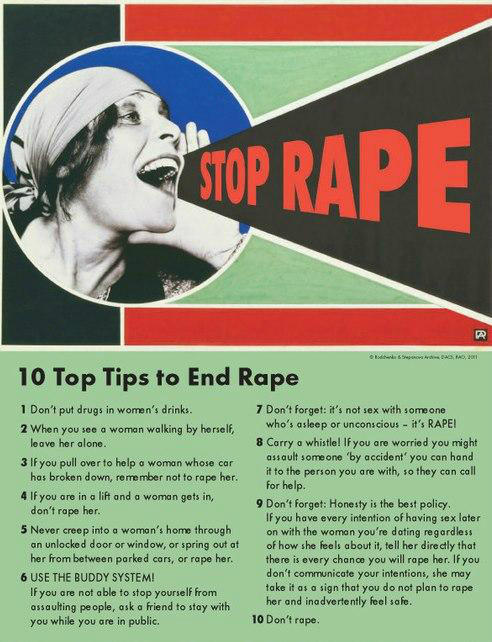 projectunbreakable:   carasala:   REMEMBER: rape can happen to anyone, man or woman. It's simple: DON'T rape. No one is asking for it, no one deserves it, it's up to you to be fucking responsible and sane and in control of your actions and not put others in dangerous or compromising positions that affect them for the rest of THEIR LIVES. If you don't think it's serious, WAKE THE FUCK UP. WAKE. THE. FUCK. UP.   My friend Cara verbalized my beliefs. This is important. This is necessary.   And a bit of black humour. For fun.