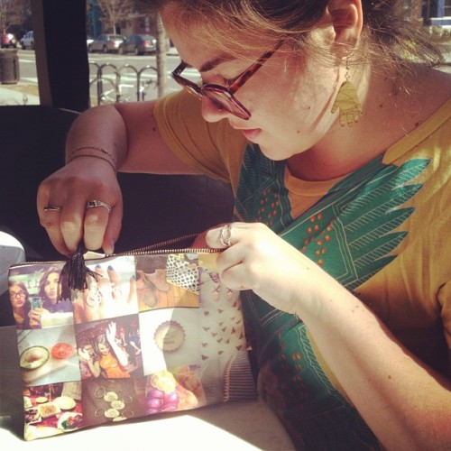 Emily showing off our new zipper pouch, coming soon to stitchtagram.com!