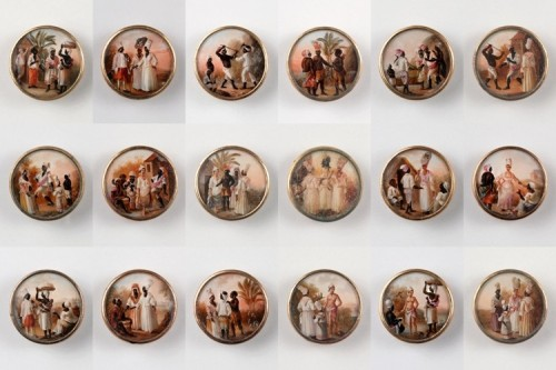 Who would wear paintings as buttons? The Cooper-Hewitt has the full story of these remarkable fasteners - and it purportedly involves Toussaint L'Ouverture, the legenedary slaved-turned-leader of Haiti.