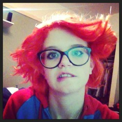 All done with pretty hair! Now I look crazy!!! #redhair #orangehair #crazy #latenight