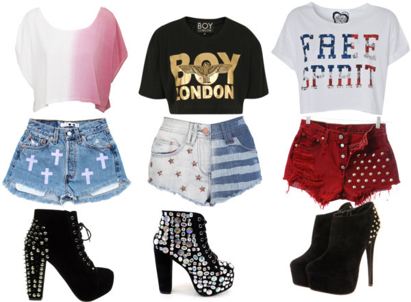 Three looks. por lebscouto usando black bootsLee  tee, $31 / BOY London crop top, $70 / Oversized t shirt, $12 / Shorts, $130 / Levi's high-waisted denim shorts / Short shorts, $46 / Jeffrey Campbell high heel boots, $280 / Lace up heel boots / Black boots, $62
