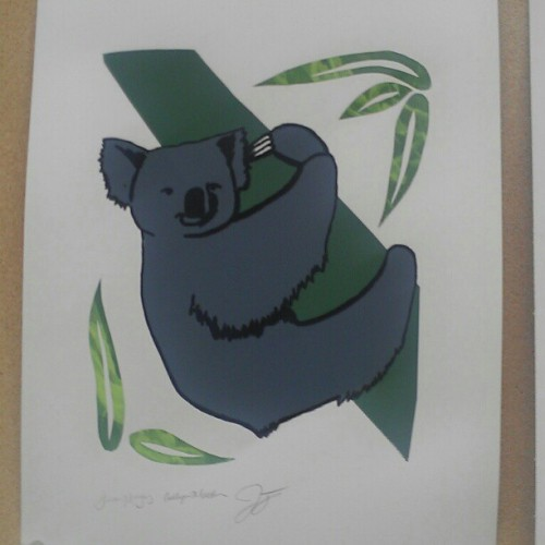 Finally have a picture of my last print. We combined a koala with a sloth. #print #art #koala #sloth