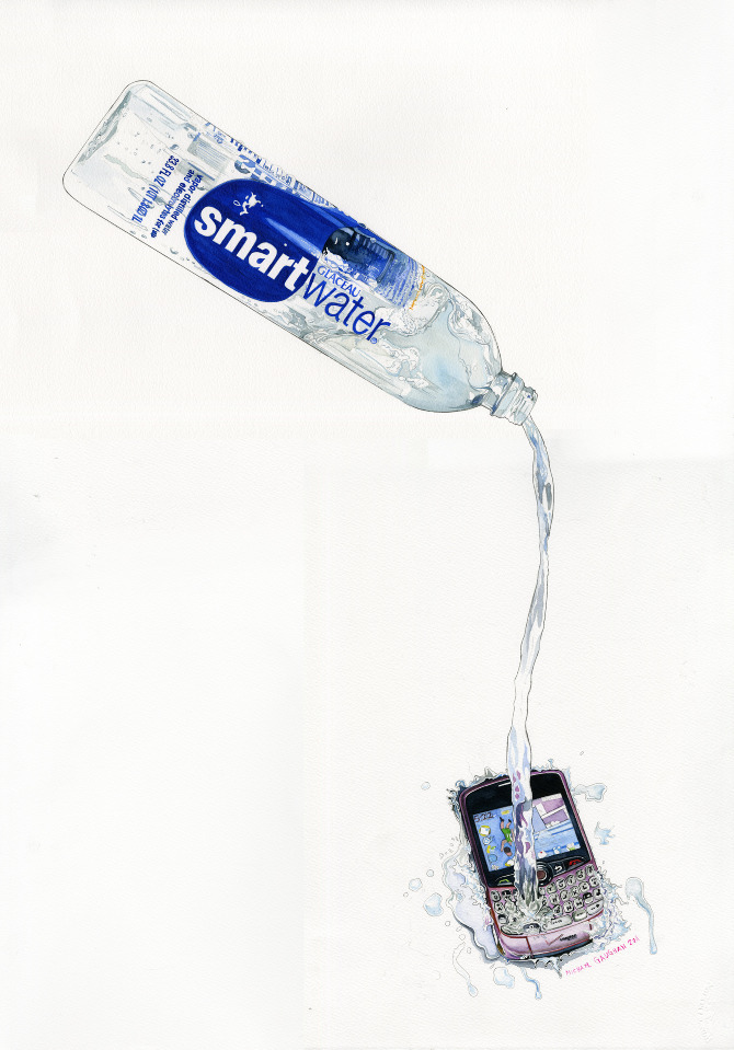 iqblog:  Michael Gaughan, I Spill Smart Water on Your Smart Phone, watercolor on paper, 2011.