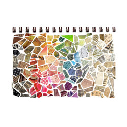 Cut paper mosaic sketchbook collage by susanfarrington.