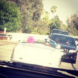 Real life Malibu Barbie and friend in a bathtub Jag with mirrors and pink feather boas in tow