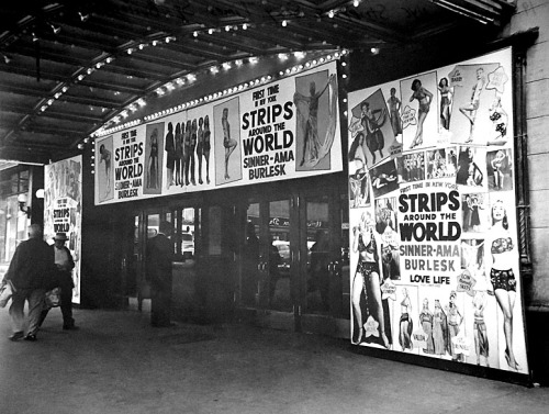 "STRIPS AROUND THE WORLD  •  SINNER-AMA BURLESK Vintage photo from 1953 highlights the marquee of the 'TIMES Theatre'; located at 8th Avenue & 41st Street, in New York City..    ""HOT MUSIC"" and ""LOW Comedy SKITS""!!"