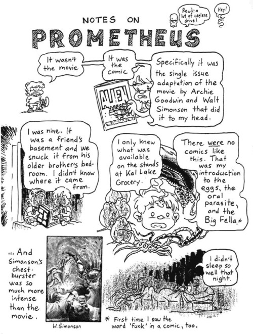 Notes On Prometheus by james lloyd I don't entirely agree on Prometheus, but this is beautiful, and a beautiful tribute to Archie Goodwin.