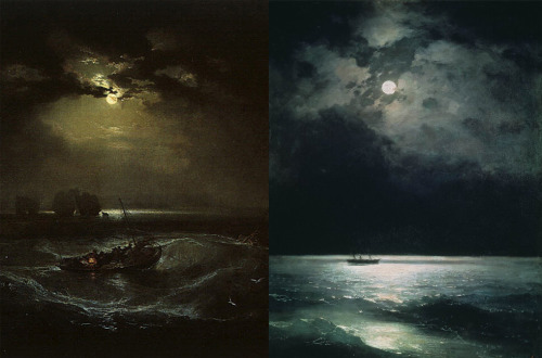 Turner, Fishermen at Sea │Aivazovsky, The Black Sea at Night