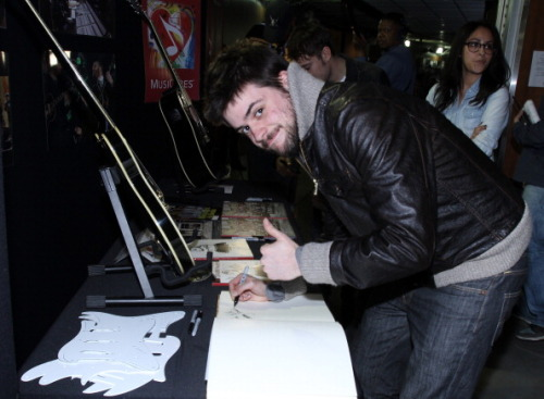 Winston Marshall of Mumford & Sons poses at the MusiCares charity signing booth during The 55th Annual GRAMMY Awards held at STAPLES Center on February 8, 2013 Photo by Maury Phillips/WireImage.