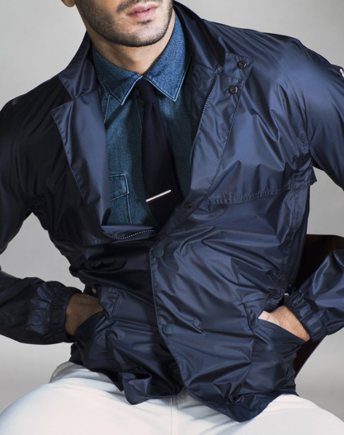 maninpink:  Moncler Grenoble's nylon jacket, BLK DNM's cotton shirt, Levi's jeans, Brunello Cucinelli tie | If you know where to buy this cloth or any other alike please leave the comment in my blog. Thx. Terry