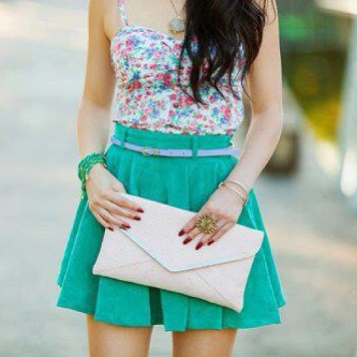 #high #waist #skirt #turquoise #crop #tank #top #bralet #floral #clutch #cream #white #fashion #girly #chic