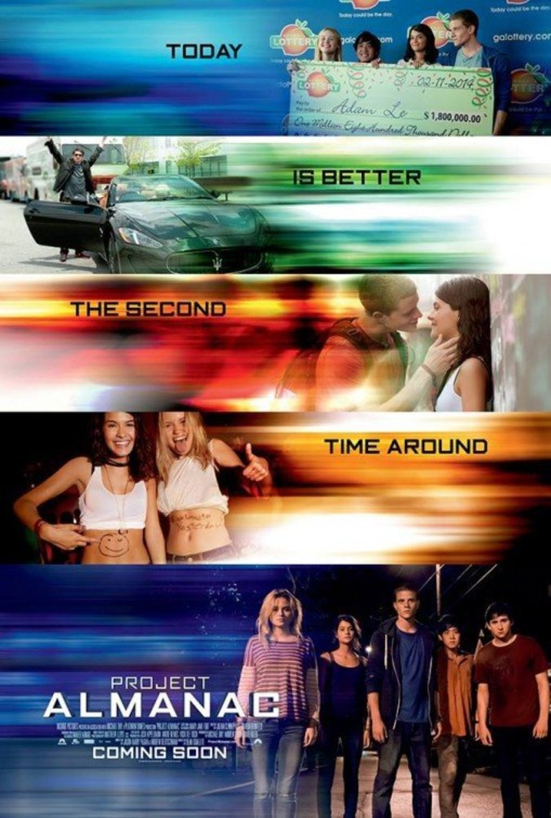 New Poster just added for Project Almanac Jan 30, 2015  directed by Dean Israelite, with stars Amy Landecker Sofia Black-D'Elia Virginia Gardner Jonny Weston Hillary Harley