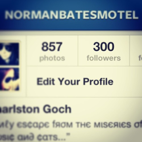 Wow thanks! 300 followers. #woohoo #followme #normanbatesmotel #bloodyloveyou #thanksforfollowing #300 #thanks #instagram #followme
