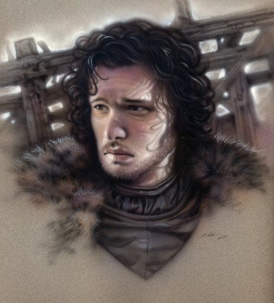 """Jon Snow"" Airbrush and colored pencil on paper by Michael Calandra"