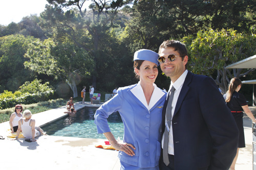 Misha Collins with vintage Pan Am stewardess at book launch for The Jet Sex (x)