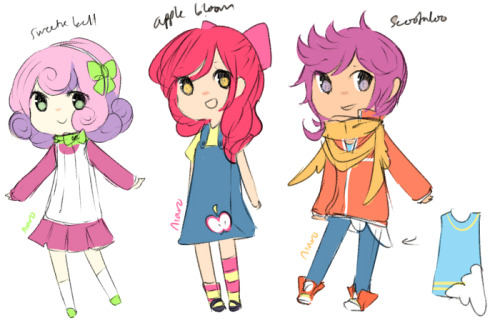 concept for cutie mark crusaders ^q^ these designs are actually MONTHS OLD i had to dig through my itouch to use as reference dmhfnhgf but yesss CONCEPTS SO NOTHING NICE AND PRETTY YET SOBBB but I always wanted to have at least sketches so here u go and if you haven't been following my mlp gijinkas, unicorns always have hairbands with a jewel for their horn BUT SINCE SWEETIE BELLE IS JUST A FILLY SHE JUST HAS A HAIRBAND… and pegasi always have capes/collars/etc for their wings SCOOTALOO HAS HER SCARF and also her inward shirt is something similar to what my rainbow dash gijinka wears. the cloud part of the shirt is suppose to look kinda wingy as well as an oversized shirt but ha ha mb it doesn't look good i'll draw it more to see if I wanna keep it or not THANKS FOR LOOKINGGGG