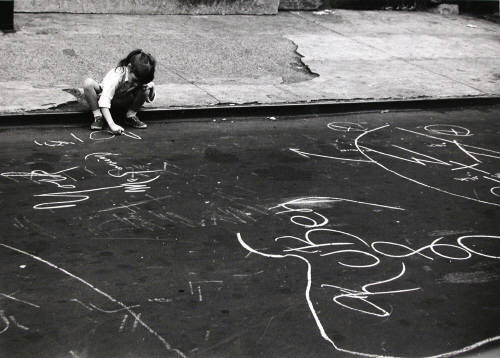 adanvc:  Untitled (Girl drawing with chalk), New York, 1962. by André Kertész